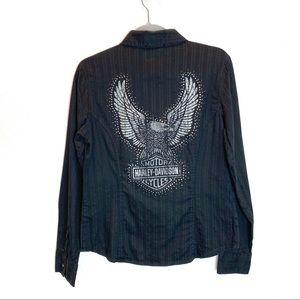Harley Davidson Black Button Shirt - Size M